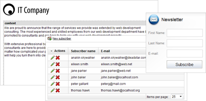 WorldCast CMS comes with easy-to-use e-mail marketing tools