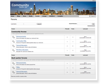 Community site forums
